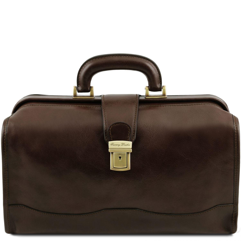 Raffaello - Kožená doktorská taška - Tmavě hnědá barva