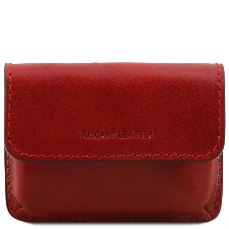 Exkluzivní kožené pouzdro na vizitky - Červená barva