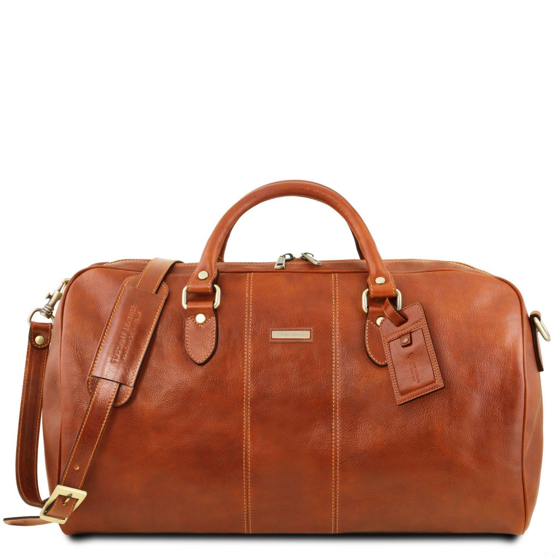 """Lisbona - Cestovní kožená taška """"duffle"""" - velká - Světle hnědá barva"""