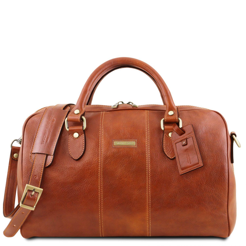 """Lisbona - Cestovní kožená taška """"duffle"""" - malá - Světle hnědá barva"""