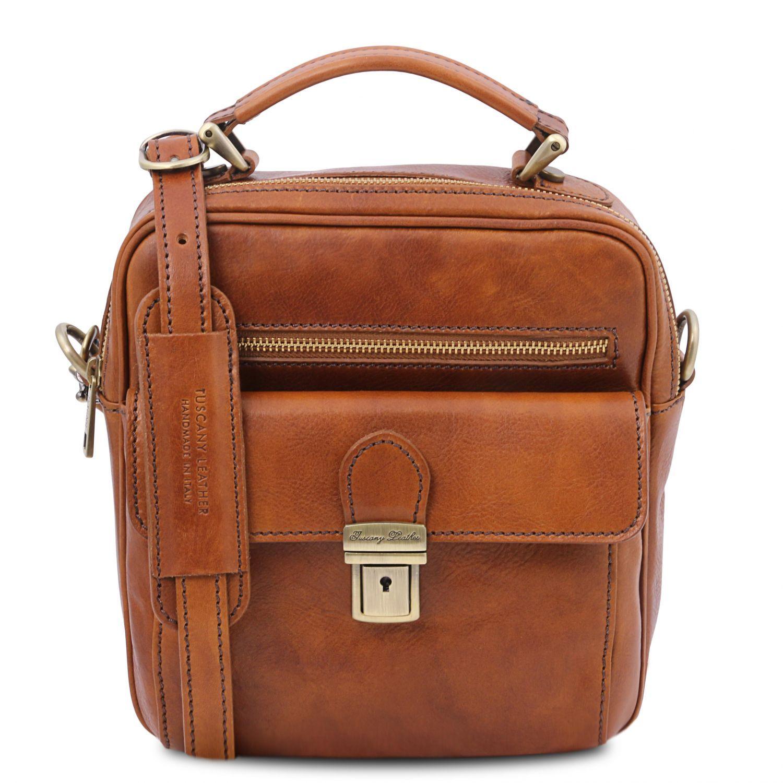Brian - Kožená taška přes rameno pro muže - Světle hnědá barva