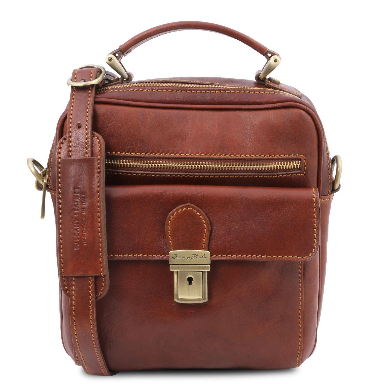 Brian - Kožená taška přes rameno pro muže - Hnědá barva