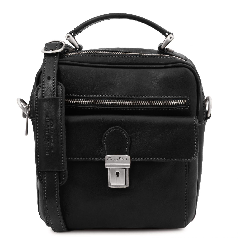 Brian - Kožená taška přes rameno pro muže - Černá barva
