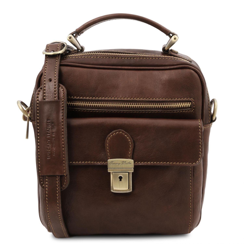 Brian - Kožená taška přes rameno pro muže - Tmavě hnědá barva
