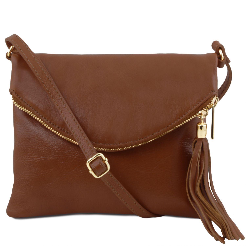 TL Young bag - Taška přes rameno se střapcovým detailem - Skořicová barva