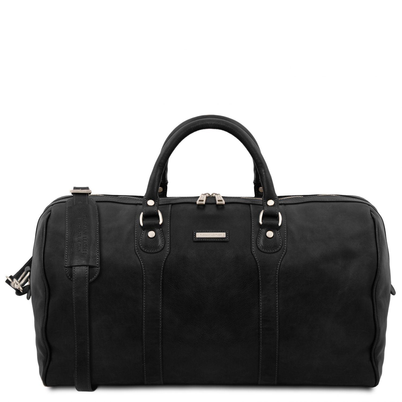 """Oslo - Cestovní kožená víkendová """"duffle"""" taška - Černá barva"""