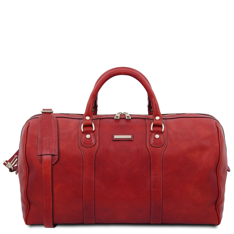 """Oslo - Cestovní kožená víkendová """"duffle"""" taška - Červená barva"""