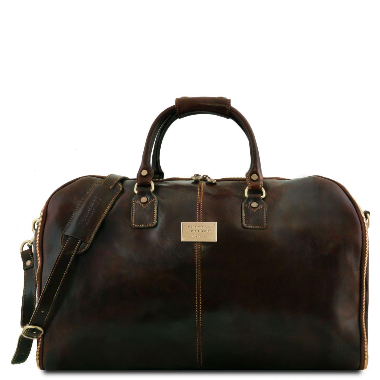 Antigua - Cestovní kožená oděvní taška - Tmavě hnědá barva