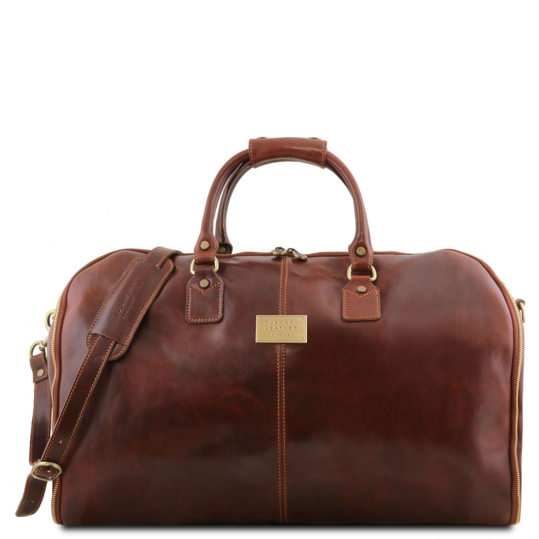 Antigua - Cestovní kožená oděvní taška - Hnědá barva