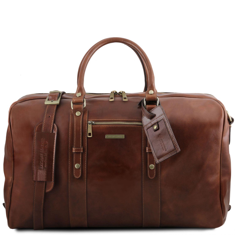 TL Voyager - Kožená cestovní taška s přední kapsou - Hnědá barva