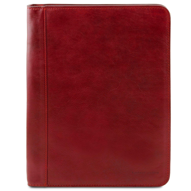 Luigi XIV - Kožené pouzdro na dokumenty se zapínáním na zip - Červená barva