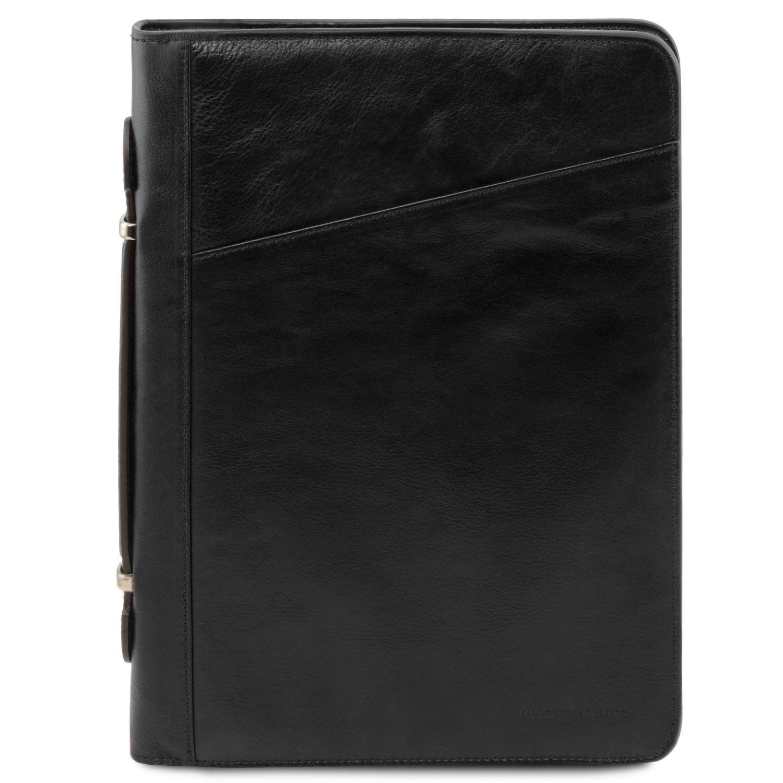 Costanzo - Exkluzivní kožené pouzdro na dokumenty s rukojetí - Černá barva