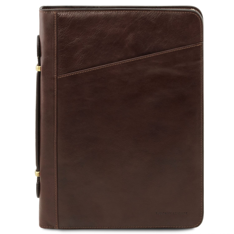 Costanzo - Exkluzivní kožené pouzdro na dokumenty s rukojetí - Tmavě hnědá barva