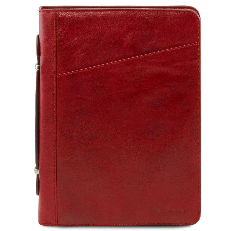 Costanzo - Exkluzivní kožené pouzdro na dokumenty s rukojetí - Červená barva