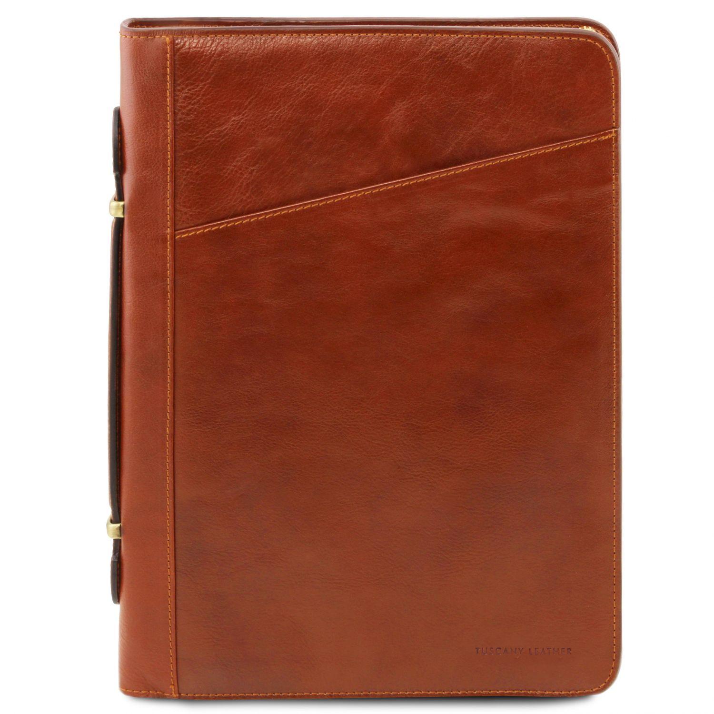 Costanzo - Exkluzivní kožené pouzdro na dokumenty s rukojetí - Světle hnědá barva