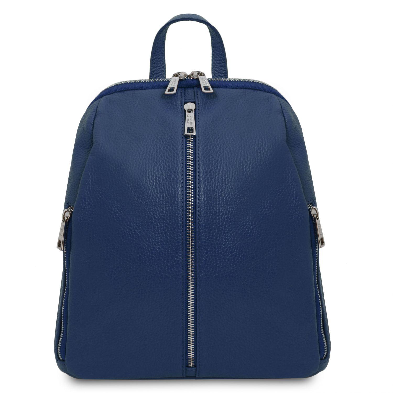 TL Bag - Dámský batoh z měkké kůže - Tmavě modrá barva