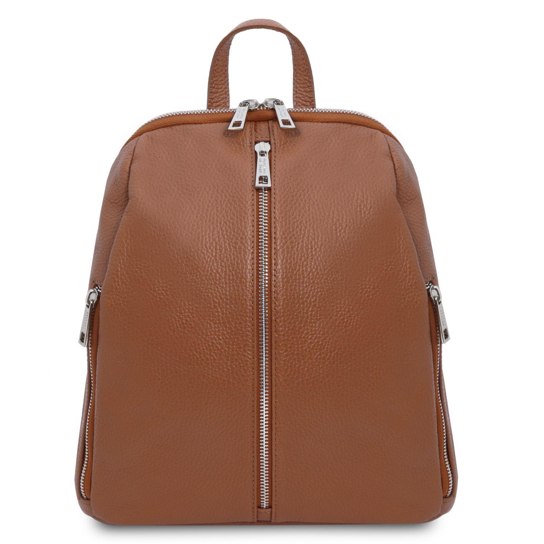 TL Bag - Dámský batoh z měkké kůže - Koňaková barva