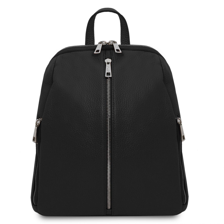 TL Bag - Dámský batoh z měkké kůže - Černá barva