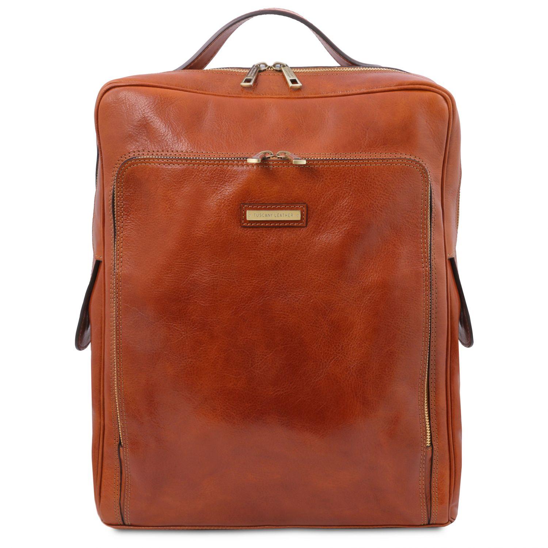 Bangkok - Kožený batoh na notebook - velký - Světle hnědá barva