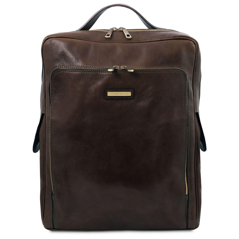 Bangkok - Kožený batoh na notebook - velký - Tmavě hnědá barva