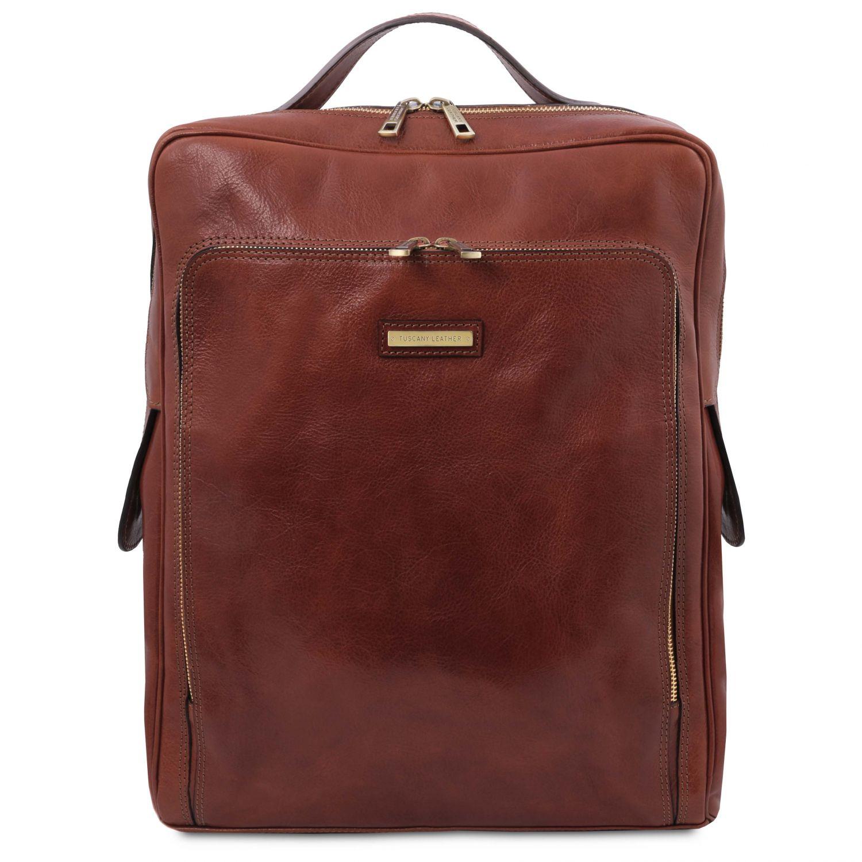 Bangkok - Kožený batoh na notebook - velký - Hnědá barva