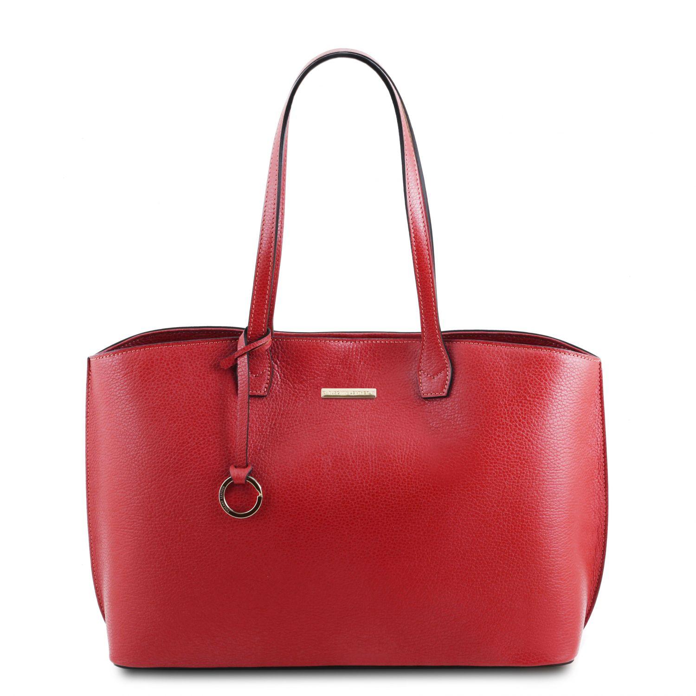 TL Bag - Kožená nákupní taška - Rtěnková červená barva