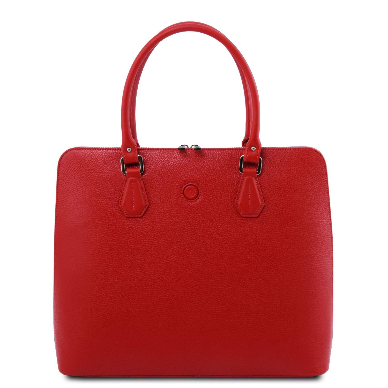 Magnolia - Kožená dámská obchodní taška - Rtěnková červená barva