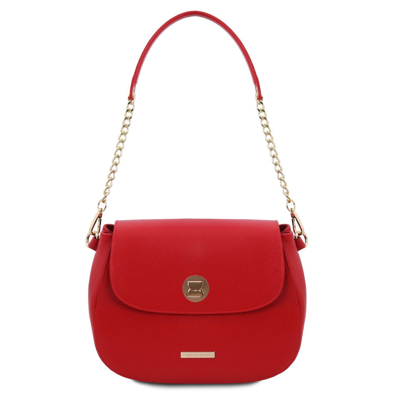 Fresia - Kožená taška přes rameno - Rtěnková červená barva