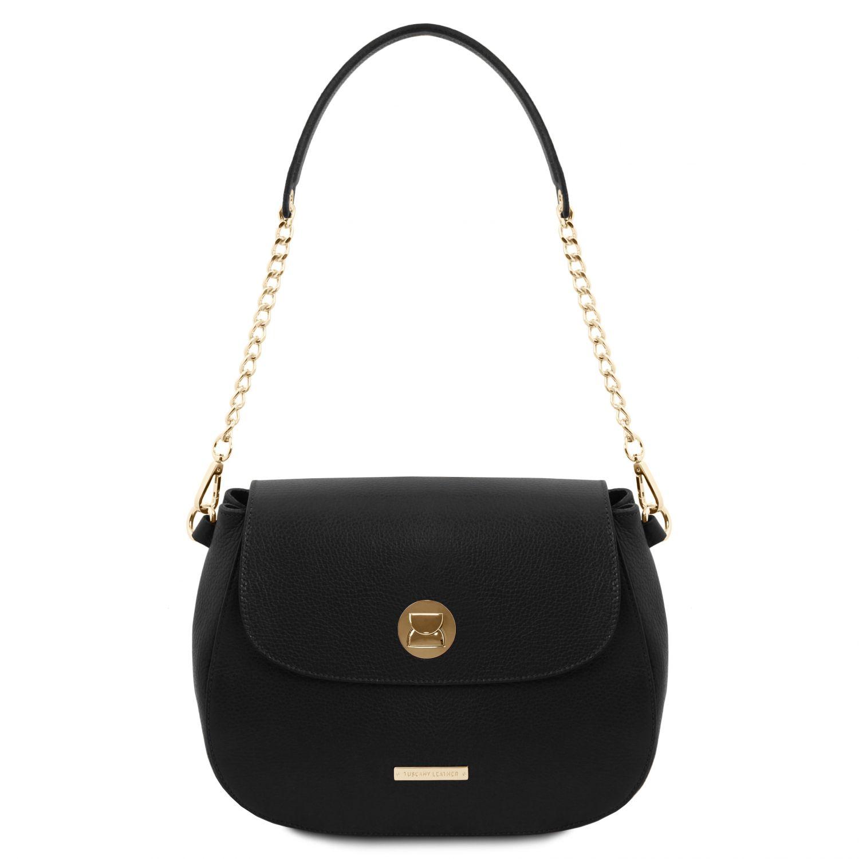 Fresia - Kožená taška přes rameno - Černá barva