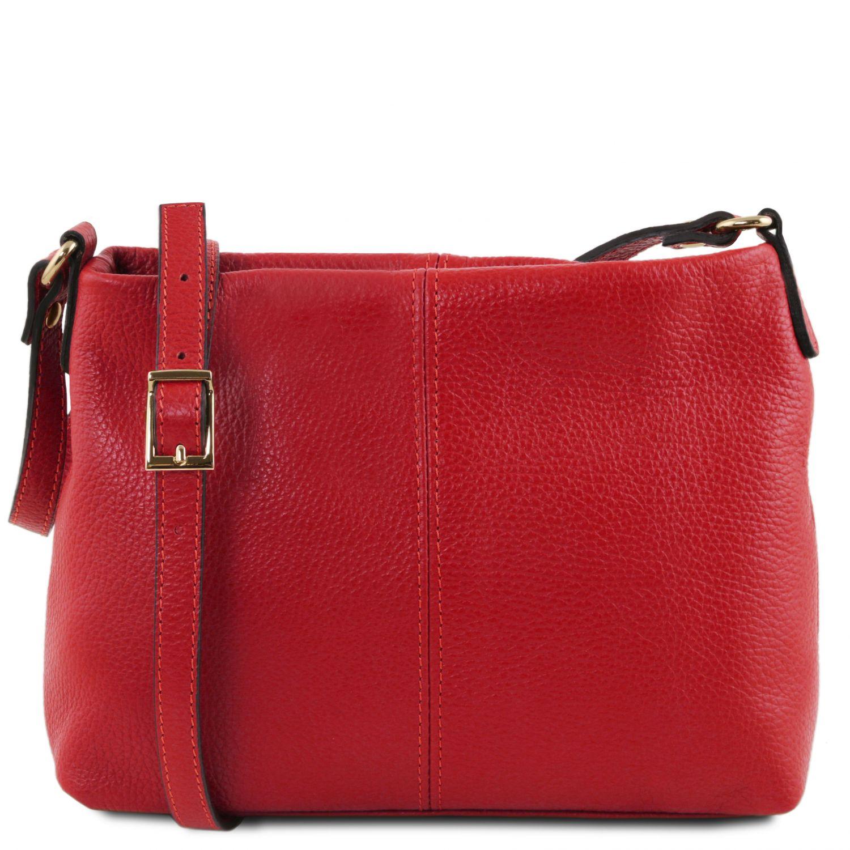 TL Bag - Taška přes rameno z měkké kůže - Rtěnková červená barva