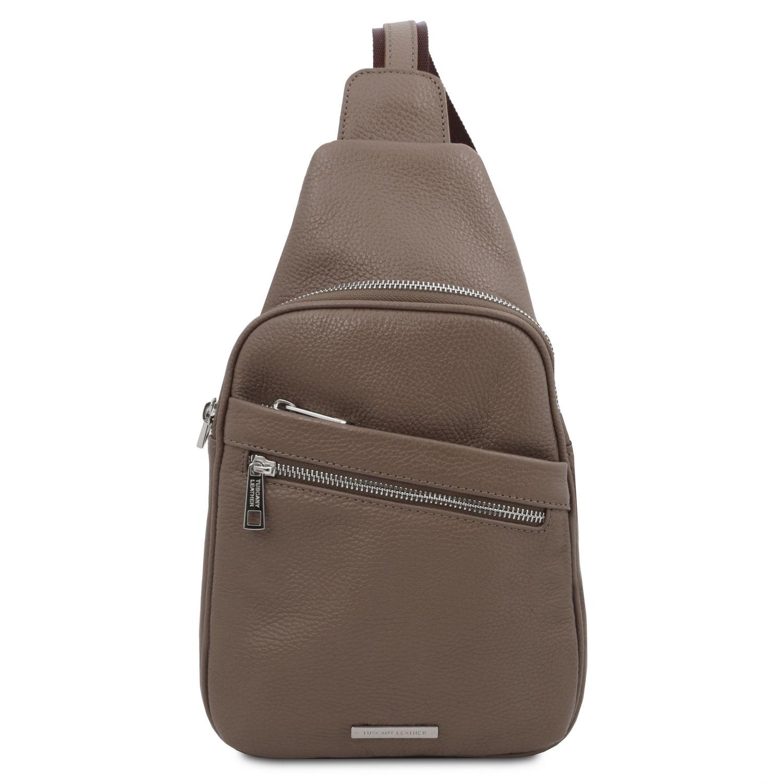 Albert - Crossover taška z měkké kůže - Tmavě hnědošedá barva
