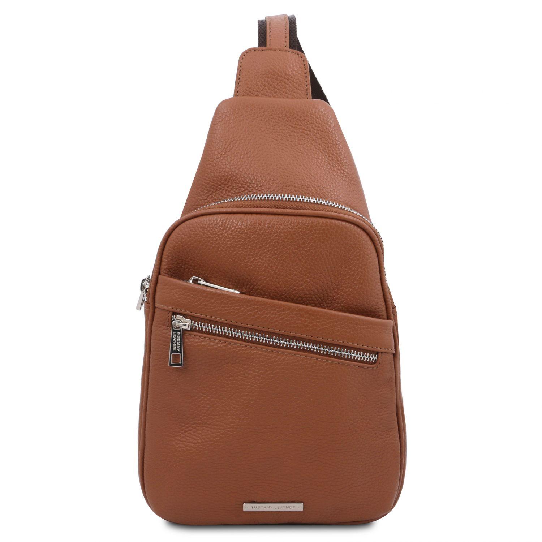 Albert - Crossover taška z měkké kůže - Koňaková barva