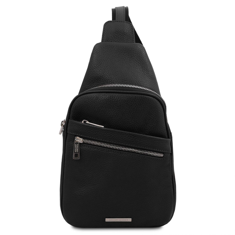 Albert - Crossover taška z měkké kůže - Černá barva