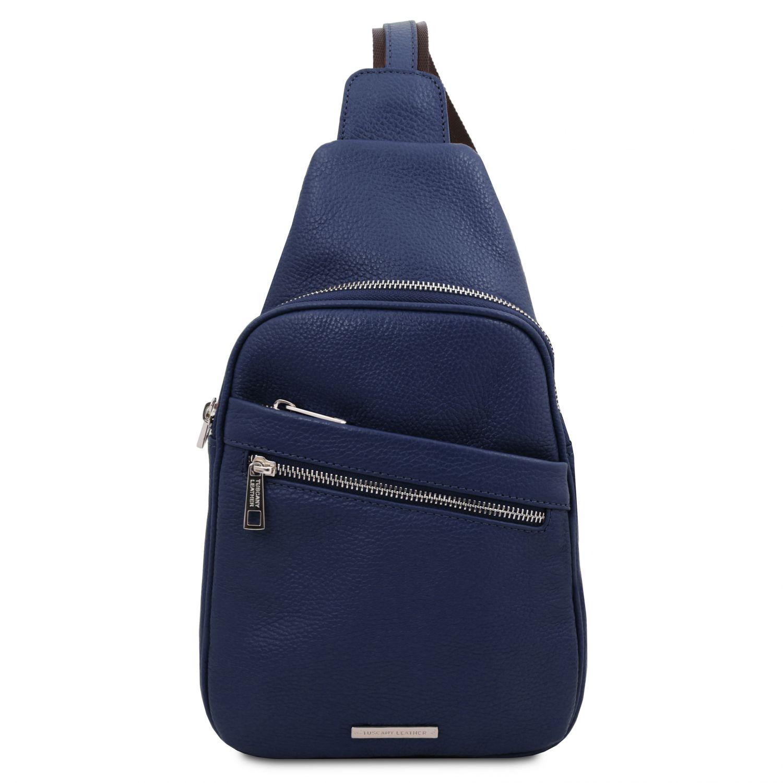 Albert - Crossover taška z měkké kůže - Tmavě modrá barva