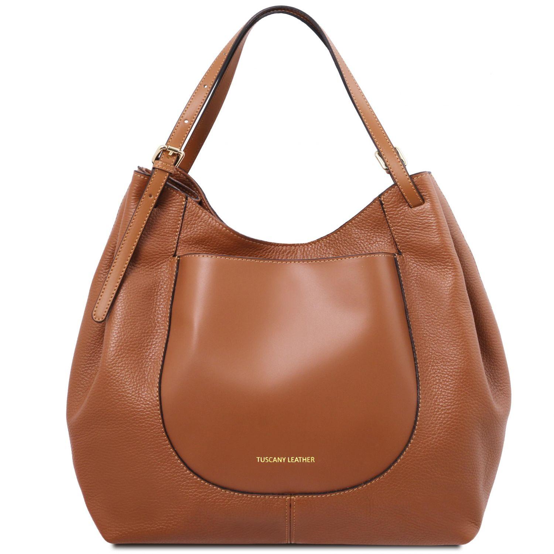 Cinzia - Nákupní taška z měkké kůže - Koňaková barva