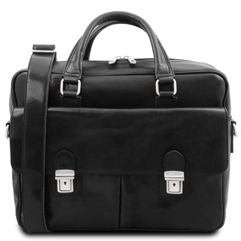 San Miniato - Kožená aktovka na notebook s více přihrádkami a se dvěma předními kapsami - Černá barva