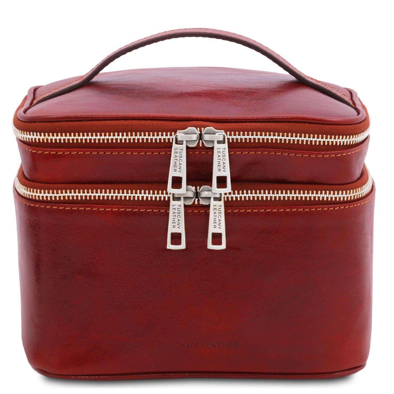 Eliot - Kožená toaletní taška - Červená barva