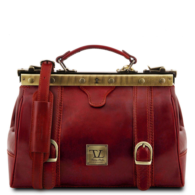 "Monalisa - Kožená doktorská taška ""Gladstone"" - Červená barva"