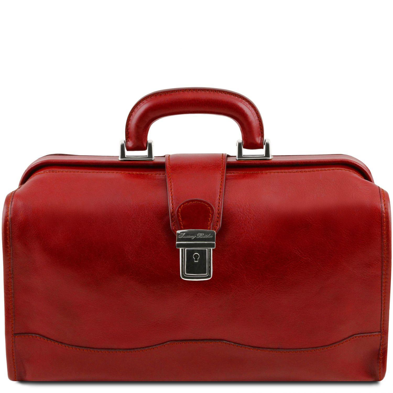 Raffaello - Kožená doktorská taška - Červená barva