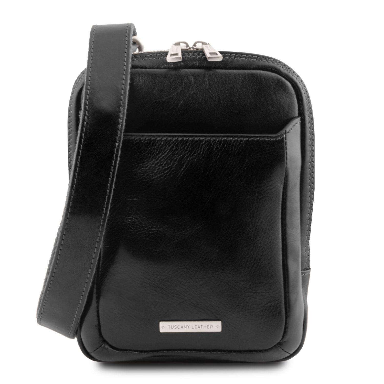 Mark - Kožená crossbody kabelka - Černá barva