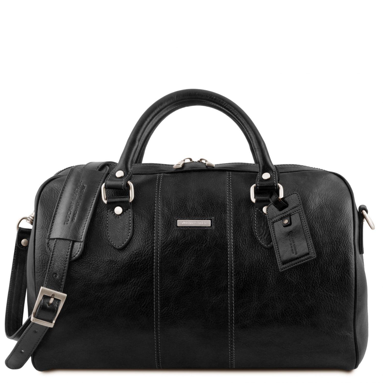 """Lisbona - Cestovní kožená taška """"duffle"""" - malá - Černá barva"""
