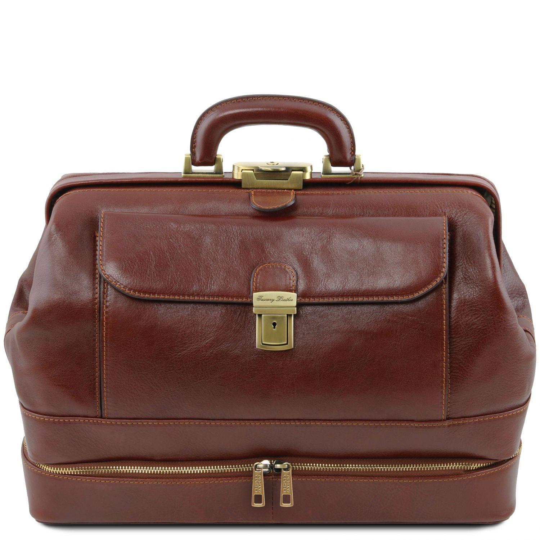Giotto - Exkluzivní kožená doktorská taška s dvojitým dnem - Hnědá barva