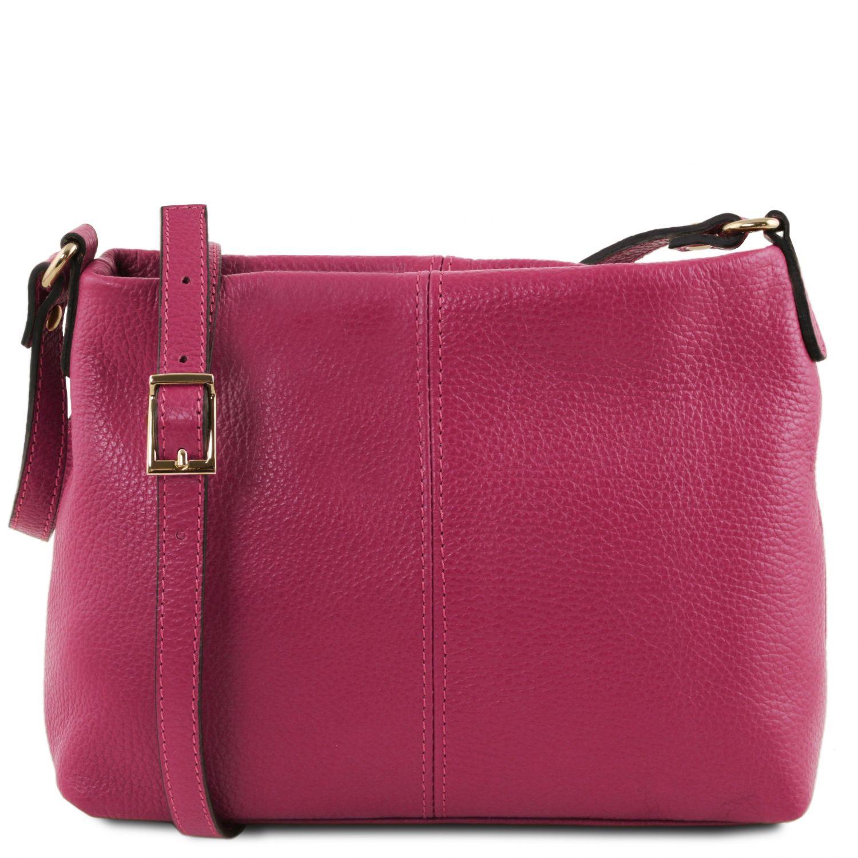 TL Bag - Taška přes rameno z měkké kůže - Fuchsie barva