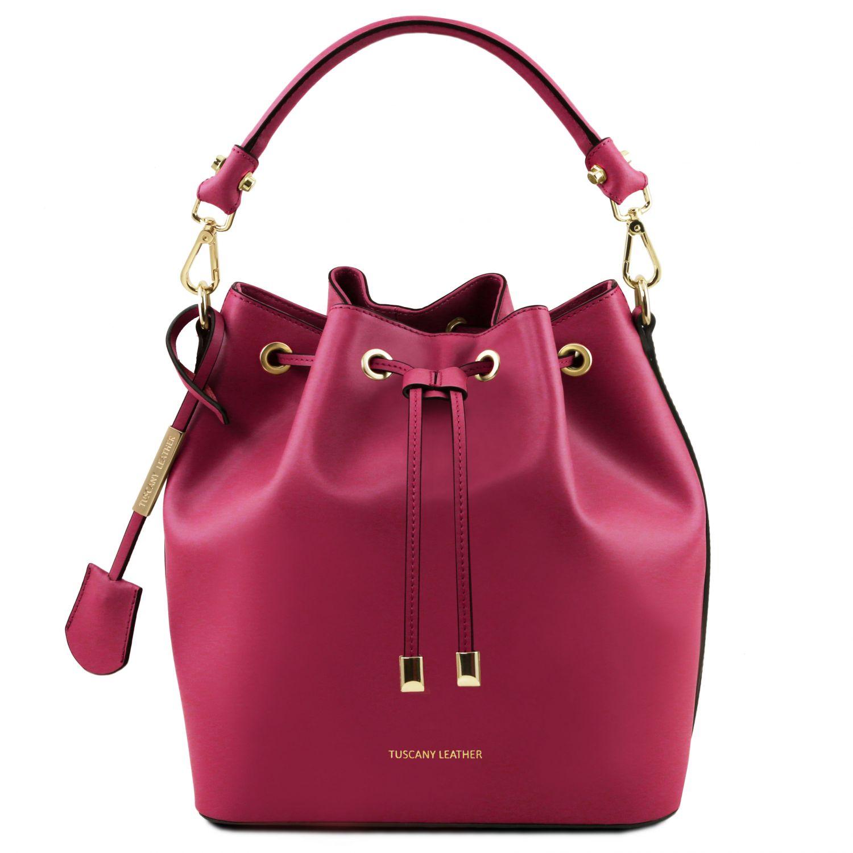 """Vittoria - Kožená taška """"bucket"""" - Fuchsie barva"""