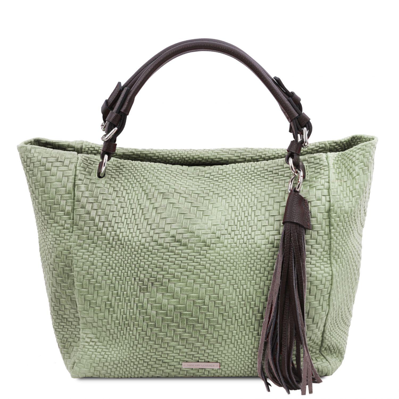 TL Bag - Kožená nákupní taška s texturou tkaniny - Mátově zelená barva