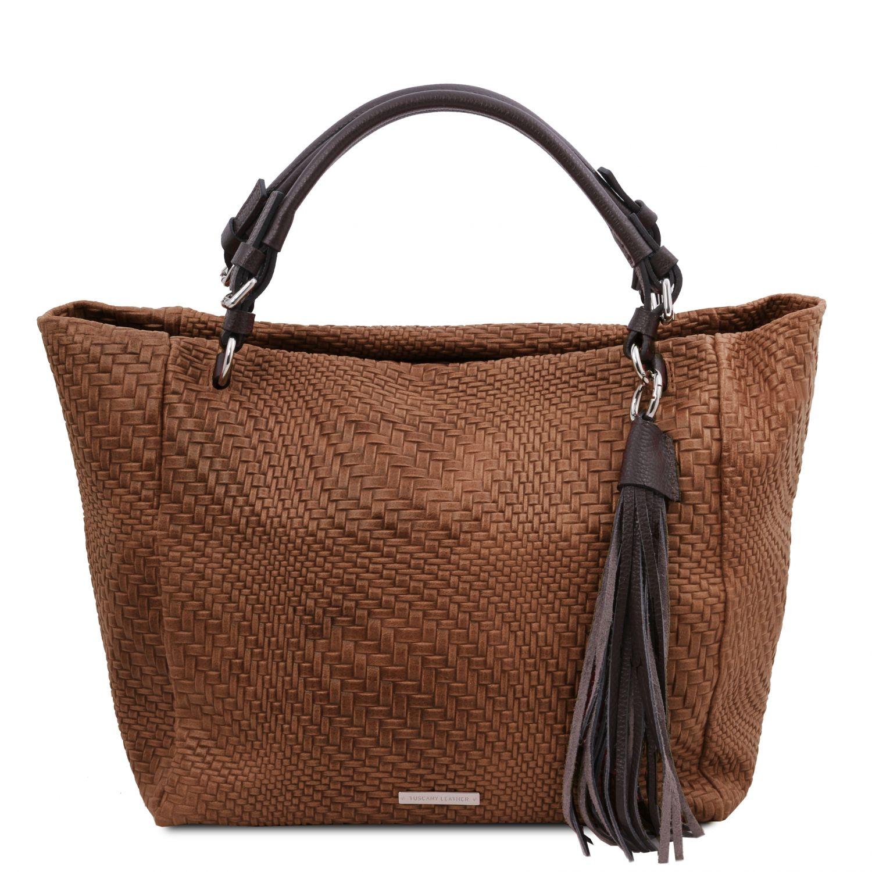TL Bag - Kožená nákupní taška s texturou tkaniny - Skořicová barva