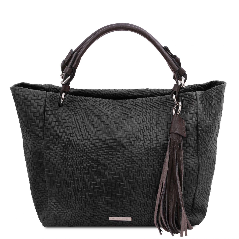 TL Bag - Kožená nákupní taška s texturou tkaniny - Černá barva