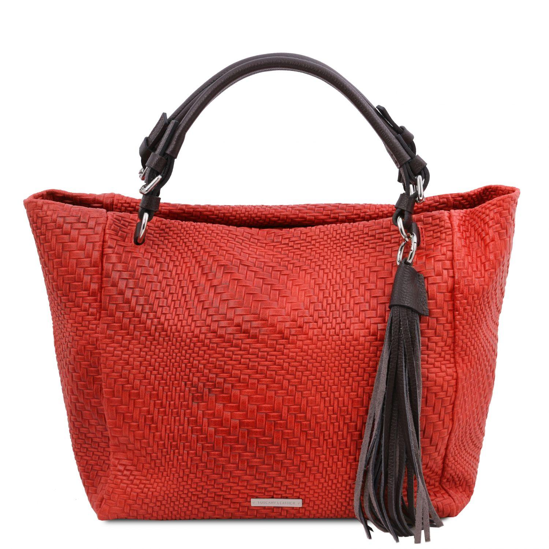 TL Bag - Kožená nákupní taška s texturou tkaniny - Rtěnková červená barva