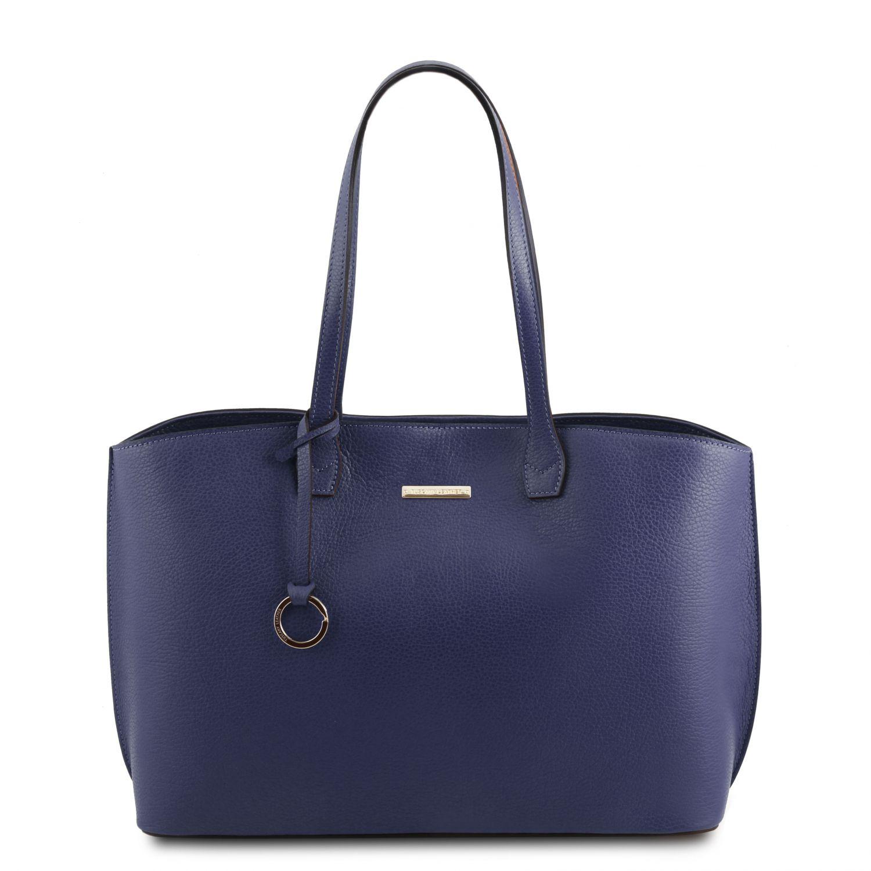 TL Bag - Kožená nákupní taška - Modrá barva