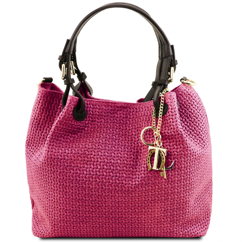 TL KeyLuck - Kožená nákupní taška s texturou tkaniny - Fuchsie barva